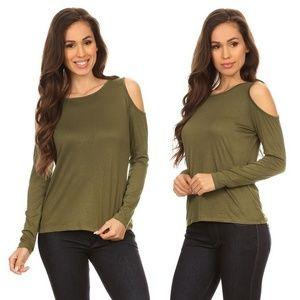 Tops - Rayon Blend Knit Olive Green Cold Shoulder Top